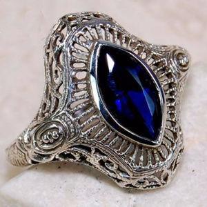 2CT Marquis Blue Sapphire 925 Silver Art Deco Ring